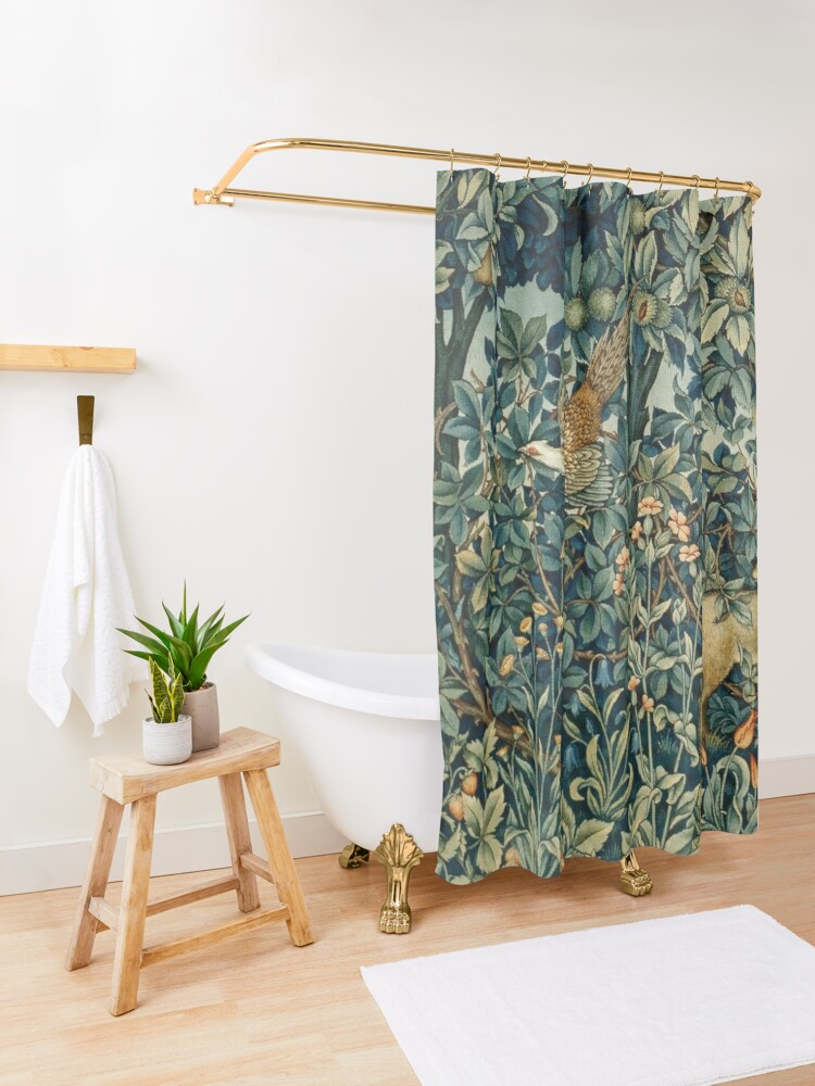 Alternate view of GREENERY, FOREST ANIMALS Pheasant and Fox Blue Green Floral Tapestry Shower Curtain