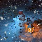 Snowman at night  by Svetlana Korneliuk