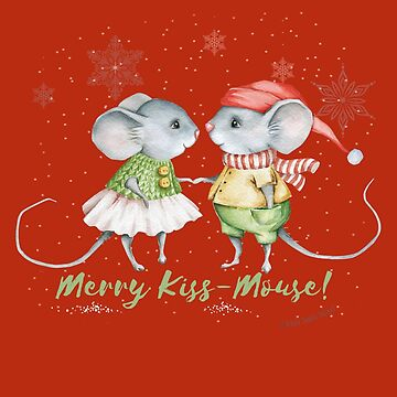 Christmas and Holiday Merry Kiss Mouse Design by Dibble-Dabble