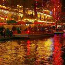Christmas lights on the San Antonio River Walk by kellimays