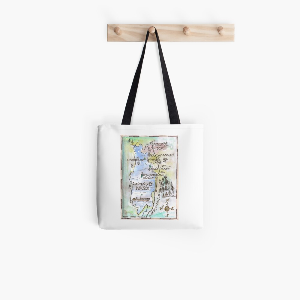 Swallows and Amazons map of Derwentwater by Sophie Neville Tote Bag