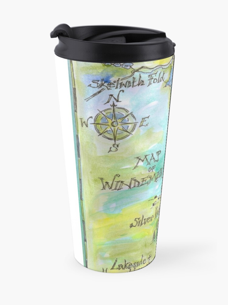 Alternate view of Swallows and Amazons map of Windermere by Sophie Neville Travel Mug