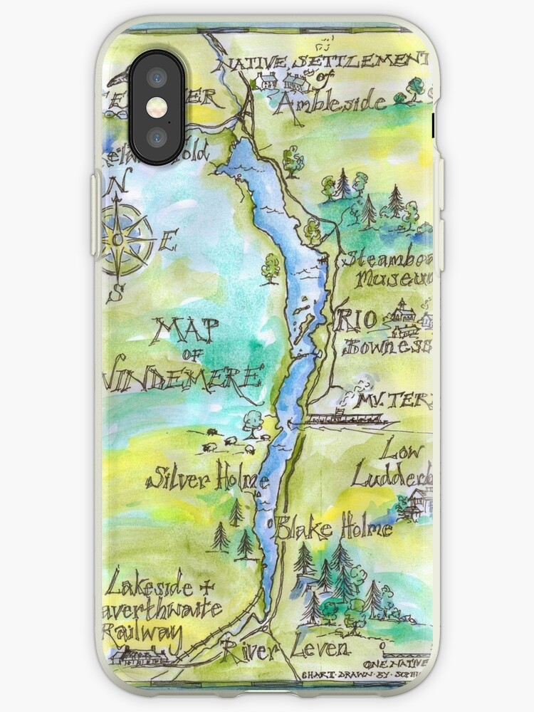 Swallows and Amazons map of Windermere by Sophie Neville by Sophie Neville