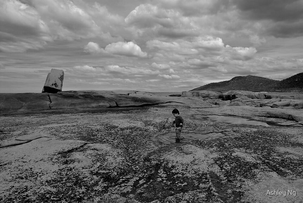 Boy in a puddle, Tasmania, 2009 by Ashley Ng