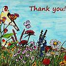 Flower Meadow - Thank You Card by EuniceWilkie