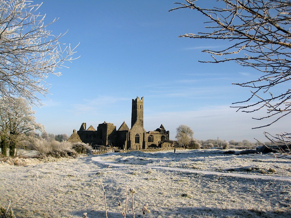 Quin Abbey in winter by John Quinn