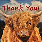 Highland Cow - Thank You Card by EuniceWilkie