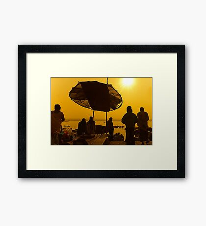 The Sacred Light at River Ganga Framed Print