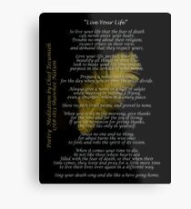 """Live Your Life""  Golden feather by Chief Tecumseh Metal Print"
