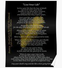 """""""Live Your Life"""" Plume d'or par le chef Tecumseh Poster"""