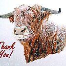 Snowy Highland Cow - Thank You Card by EuniceWilkie