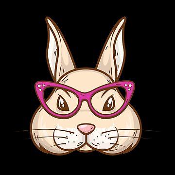 Cute Bunny Rabbit Glasses Rabbit Nerdy Geeky Easter Gift by Netsrikfa