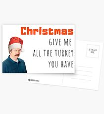 Christmas, Ron Swanson, Parks and Recreation, Cool, Comedy, Humor, Parody, Turkey, Christmas dinner, Sticker Packs, Gifts, Presents Postcards