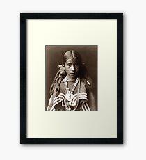Native American Portrait: Jicarilla Girl in Feast Dress Framed Print