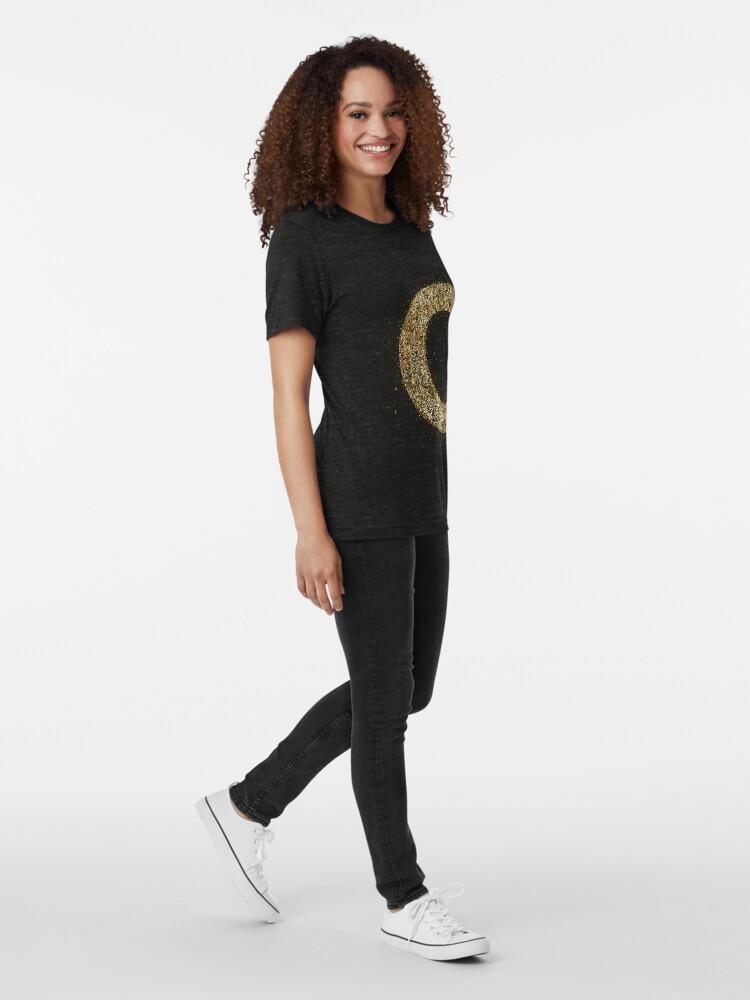 Vista alternativa de Camiseta de tejido mixto Letters abc wood golden ornament Gold