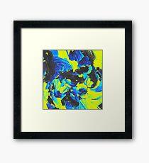 Green Blue Paint Strokes Framed Print