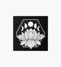 Moonlight Lotus Flower - Geometric Illustration Art Board Print