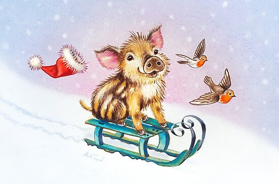 Christmas piglet by Maria Tiqwah by Maria Tiqwah