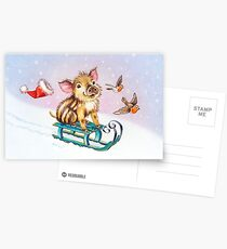 Christmas piglet by Maria Tiqwah Postcards