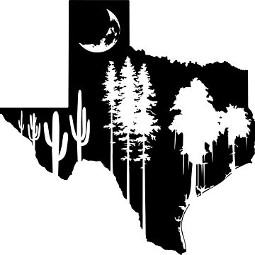 Texas Moon Forest Silhouette by ViktorCraft