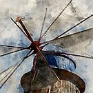 Watercolor Art Windmill by rhamm