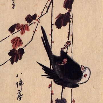 A Small Black Bird Hanging On An Ivy by Utagawa Hiroshige (Reproduction) by RozAbellera