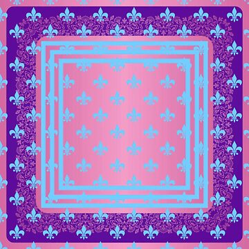 Fleur de lis,hot pink,turquoise,purple,pattern by love999