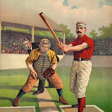 Awaiting The Pitch - Vintage Color Baseball Print - 1895 by warishellstore