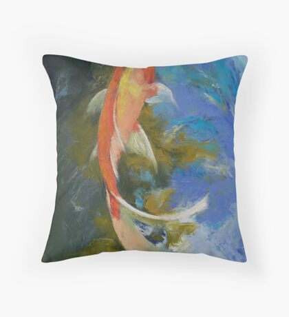 Butterfly Koi Painting Throw Pillow