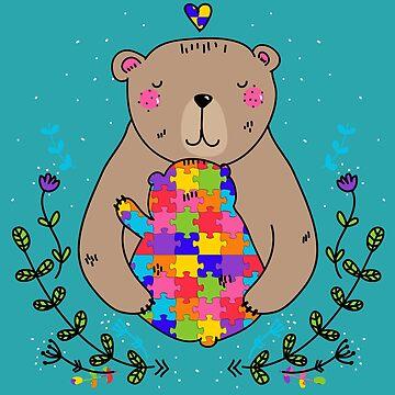 floral autistic mama bear by gossiprag