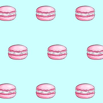 Pink Macarons on turquoise background pattern by love999