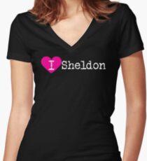 I Heart Sheldon | Love Sheldon Women's Fitted V-Neck T-Shirt
