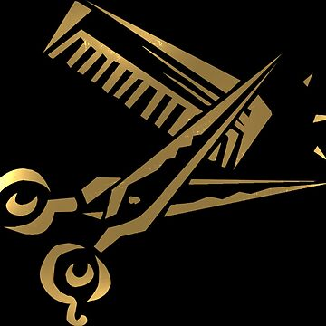 golden scissors and comb in black by almawad