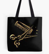 golden scissors and comb in black Tote Bag