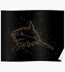 Shark perspective swimming golden ornament Gold Poster