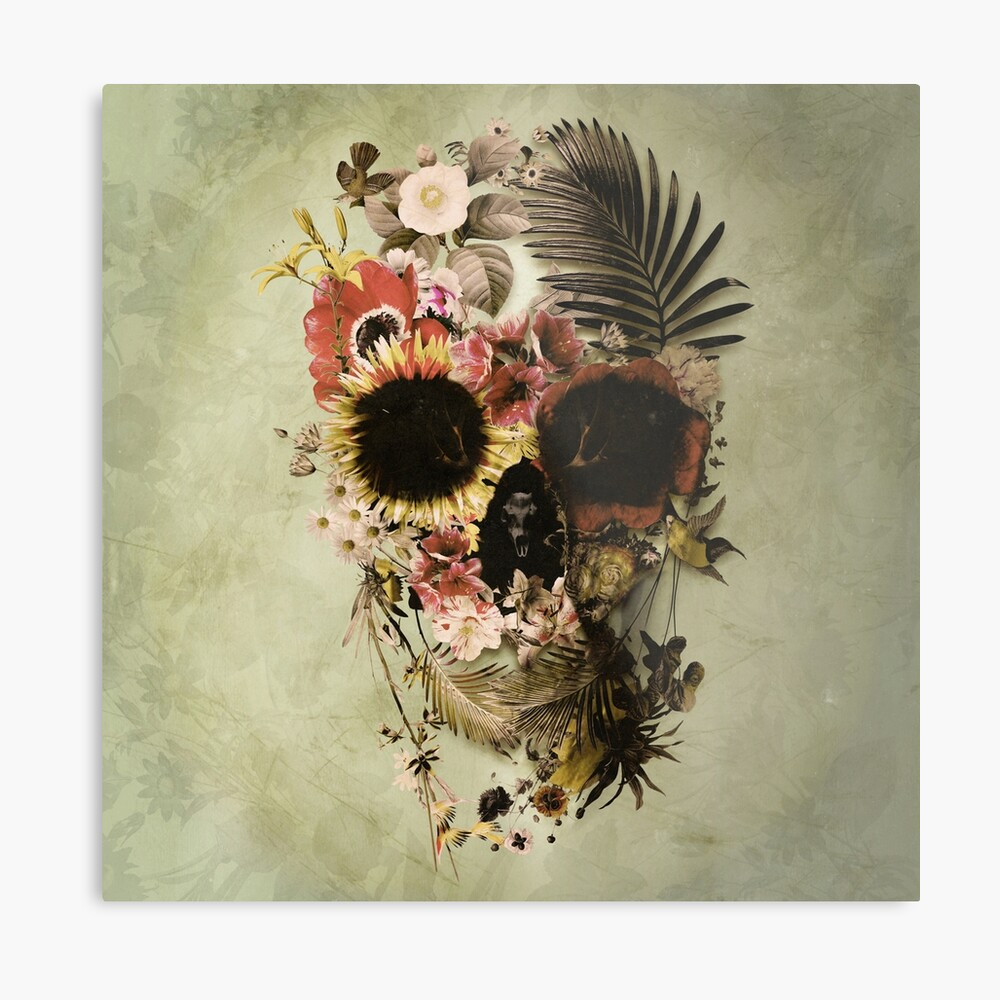 Garden Skull Light Metal Print