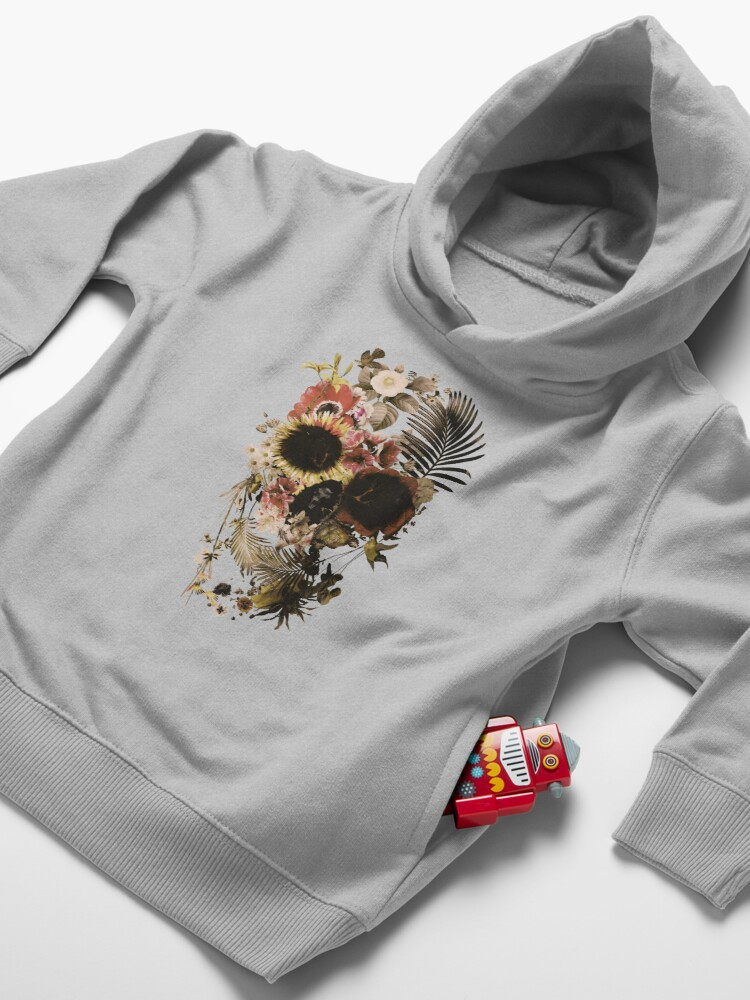Alternate view of Garden Skull Light Toddler Pullover Hoodie