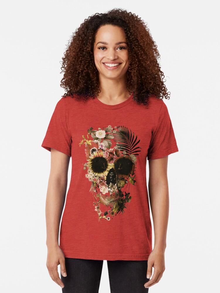 Alternate view of Garden Skull Light Tri-blend T-Shirt
