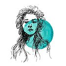 Evelyn Nesbit Illustration over Teal Ink by Whitney Cole