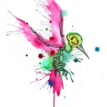Hummingbird Skeleton Watercolor/Pen&Ink by LVBART