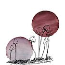 Tiny Mushrooms Illustration on Pink Inks by Whitney Cole