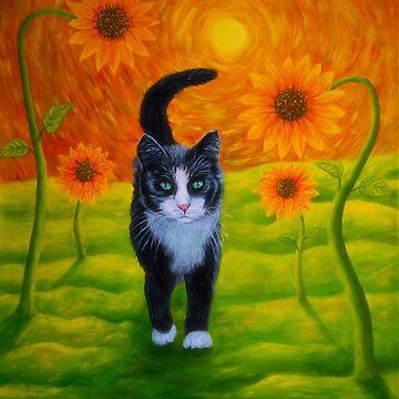 Cat and Sunflowers by wekegene