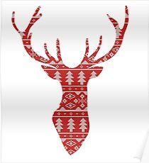Deer silhouette knitting pattern Poster