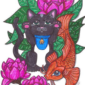 Lucky Black Cat  by JenStedmansArt