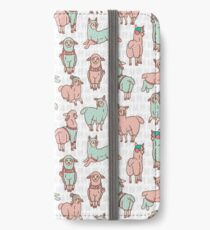 Pastel colors cartoon alpaca llamas herd  iPhone Wallet/Case/Skin