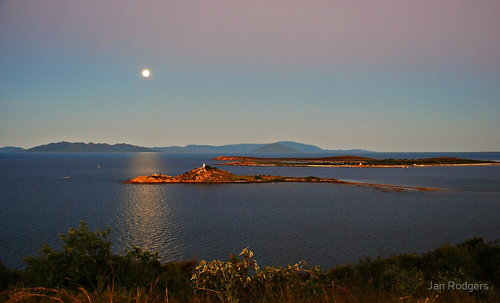 Moon Rising Over North Head Lighthouse by Janette Rodgers