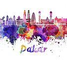 Dakar skyline in watercolor splatters by paulrommer