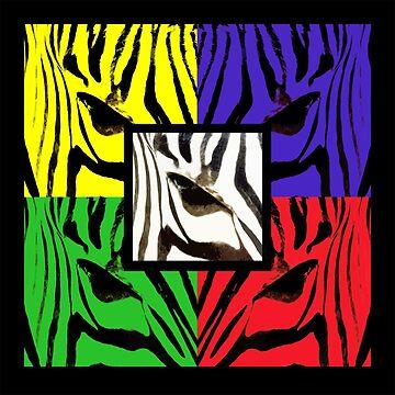 Retro Rainbow Zebra Art by JenStedmansArt