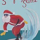 Surfing Santa vintage pastel drawing by Kitty van den Heuvel