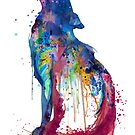 Howling Wolf Watercolor Silhouette by Marian  Voicu